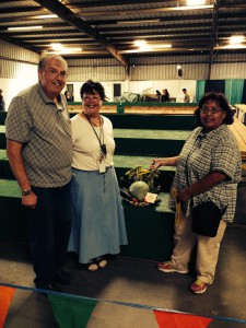 Mr Guiet, Mrs. Guiett, and Ms. Largo standing beside our entry at the fair.